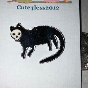 Black Cat with Skull Halloween Pin Brooch